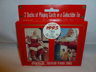 2 Decks Coca-Cola Santa Cards in Collectible Tin - 1995   Lot M-301