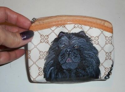 Black Chow Chow dog Hand Painted Leather Coin Purse