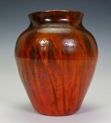 Antique North Carolina Pottery Vase A.r. Cole Chrome Red American Arts & Crafts