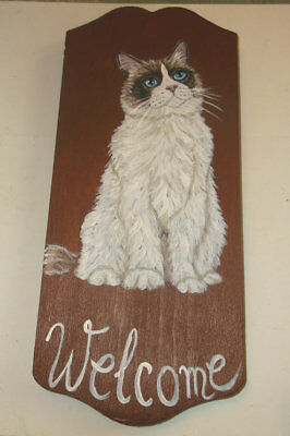 Ragdoll cat Hand Painted Plaque Welcome Sign