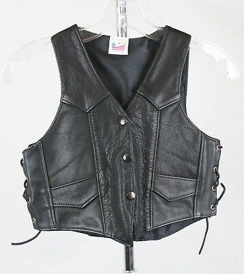 Children's Black Leather Lace Sides Button Up Vest SZ L - Made in USA