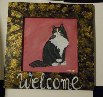Tuxedo Maine Coon cat Hand Painted Plaque Welcome Sign
