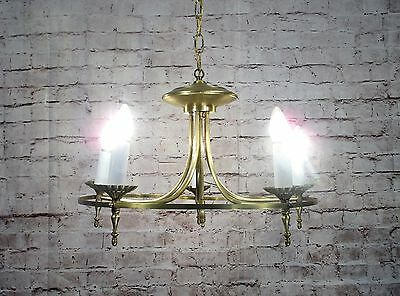 Antique Vintage Chandelier Brass Ring Fixture 5 Light Elegant Mid Century