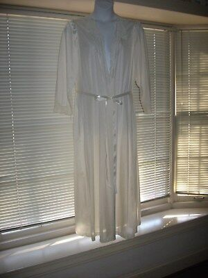 Vtg Olga Ivory Nylon Peignoir Robe  3Xl 98480 Lace Trim