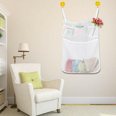 Mesh Baby Organizer Sleeping Nursery Clothing Diaper Toy w/Pouch White