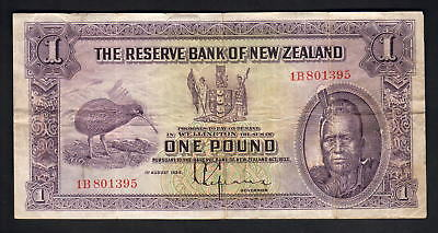 NEW ZEALAND P-155. (1934-40) 1 Pound - Lefeaux.. Prefix 1B..  gFine