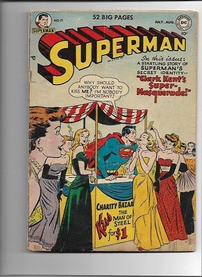 SUPERMAN #71-July/August 1951-Tight Grading-Fair Prices-Kissing Booth-Good
