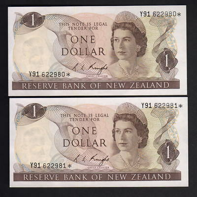 New Zealand  P-163c. (1975-77) $1 - STAR Note.. Prefix Y91..  UNC - CONSEC Pair