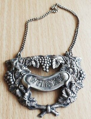 Whitehill Vintage Silver Whiskey Decanter Label !!