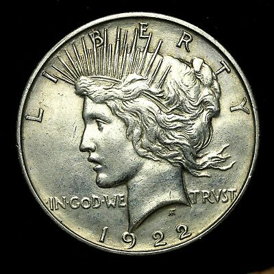 1922 D ~**ABOUT UNCIRCULATED AU**~ Silver Peace Dollar US Old Rare Coin! #782