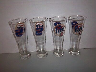 "Lot of Four (4) #2 Rusty Wallace MILLER LITE Beer Glasses (8.5"" Tall - AWESOME)"