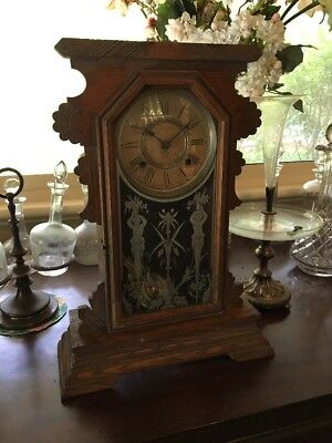 Antique Ansonia Oak Case Striking Mantle Clock For Restoration 1890
