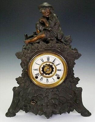 ANTIQUE 19th C. GERMAN BLACK FOREST STYLE SPELTER BRONZE FIGURAL MANTLE CLOCK
