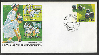 AUSTRALIA 1985 5th WOMENS WORLD BOWLS PSE Pre Stamped RESERVOIR First Day Pmk