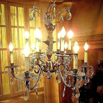 Grand Antique Vintage Bronze Chandelier Fixture 12 Light Mermaids Crystals