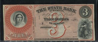 1860's $3 Dollar State Bank of Michigan - Detroit, Michigan - Crisp Condition!!!