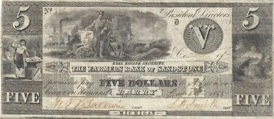 1838 $5 The Farmers Bank of Sandstone Obsolete Bank Note-Barry, Michigan-No.595