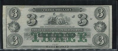1860's $3 Dollar  Rhode Island New England Commercial Bank Obsolete Bank Note!!!