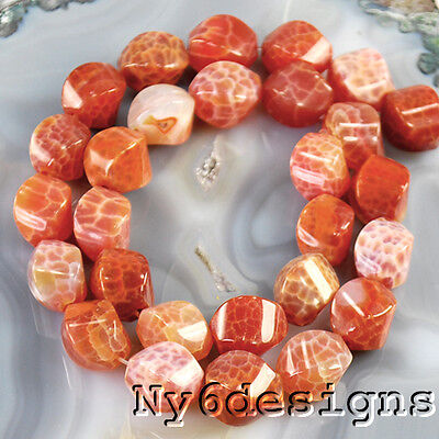 """14x10x10mm Natural Red Fire Agate Twist Oval Beads 15"""" (AG698)b FREE SHIPPING"""