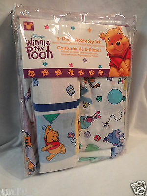 New In Package Winnie The Pooh 3 Piece Set, Blanket, Crib Ruffle, Diaper Stacker