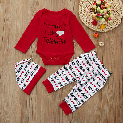 Newborn Infant Baby Boy Letter Romper +Pants+Hat Valentine's Day Outfits Set NEW
