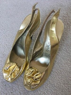 Gorgeous Charles Jourdan Gold Calfskin Leather Heels Fit Au 8 Vintage