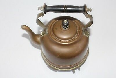 EARLY 3 LEGGED Maginet Patd. 1911 ELECTRIC COPPER & BRASS KETTLE, WOOD HANDLE