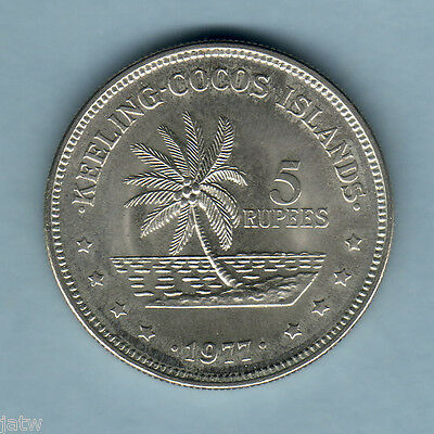 Cocos Keeling Islands. 1977 5 Rupees.. BU