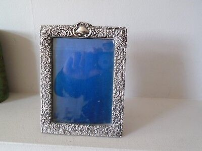 """Beautiful Floral & Scroll 7"""" Antique Year 1009  Hallmarked Silver Photo Frame"""