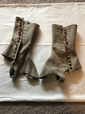 19th Century ANTIQUE VICTORIAN/EDWARDIAN HIGH TOP LADIES WOOL SHOE COVER SPATS