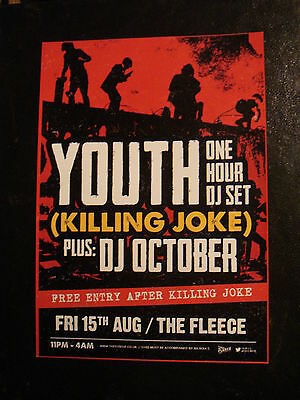 YOUTH (KILLING JOKE)FLYER, EXCLUSIVE DJ SET AFTER KILLING JOKE gig from BRISTOL