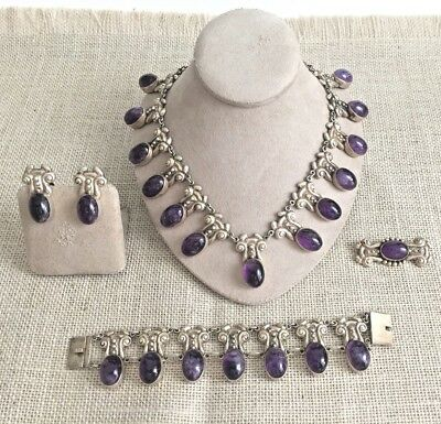 Great Vintage Mexico Horacio De La Parra Sterling & Amethyst 5 pc Set