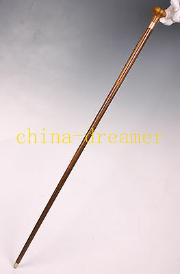 Crutch Cane Walking Stick  Yellow Wood Carving Round Head