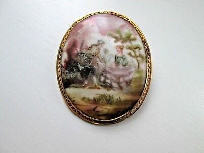 Victorian 9 Ct Gold Surround/ Frame Hand Painted Brooch/ Pendant