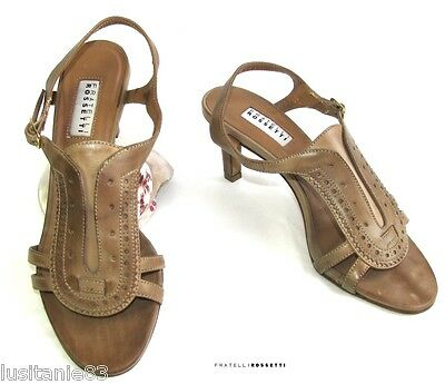 Fratelli Rossetti Sandals Heels All Brown Leather 35.5 Itl 36 Fr Mint