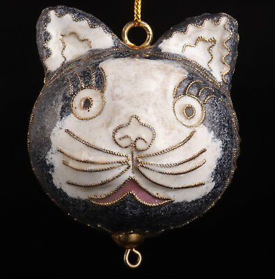 Cloisonne Pendant Statue Cat Mascot Old Handmade Collection Value