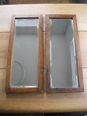 Pair of Vintage antique oak framed bevel edge mirrors country cottage chic