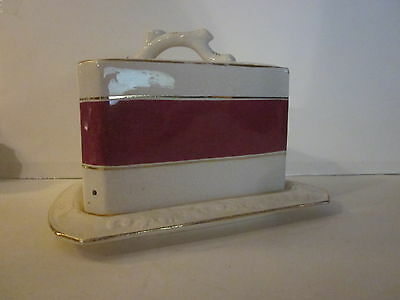 Antique Porcelain Large Covered Cheese Wedge Plate Branch Handle Maroon Stripe