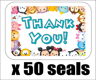 "50 Tsum Tsum Thank You Envelope Seals / Labels / Stickers, 1"" by 1.5"""