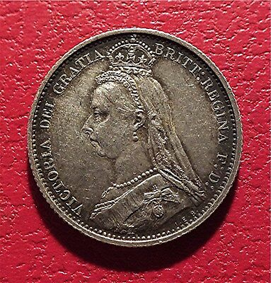 Uk,  Ar 6 Pence - 1887 Victoria, High Grade- Crown/shield Rev., Km#759 Homs