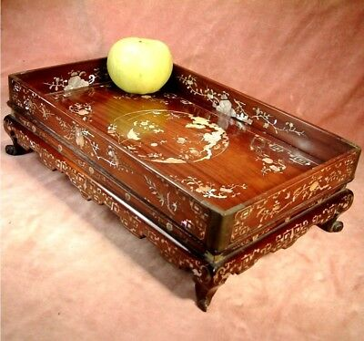 ANTIQUE c1870 CHINESE ROSEWOOD MOTHER OF PEARL INLAY SCHOLARS STAND repaired