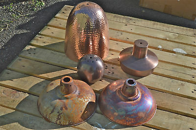 Job lot vintage style antique copper & rust hanging pendant lights lamps 3