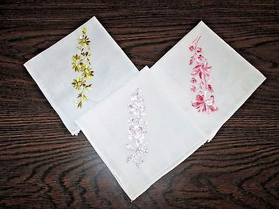 HANDKERCHIEFS Lot of 3 VINTAGE - Sheer White Cotton Embroidered Florals