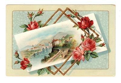 SUMMER BRIDGE COFFEE by E.T. SMITH WORCESTER MA Trade Card RIVER Scene ROSES