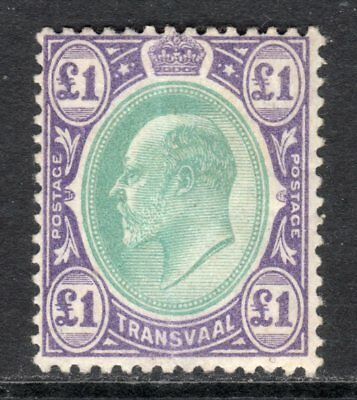 South Africa TRANSVAAL 1902 KEVII £1 green & violet M, crease, SG 258 cat £375