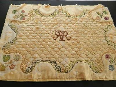 Antique very old hand embroidered & quilted silk panel couched metallic threads