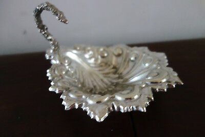 victorian embossed silver plated leaf shaped bowl