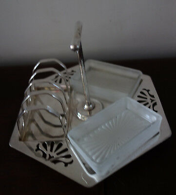 vintage art deco silverplated  toast rack and jam holder