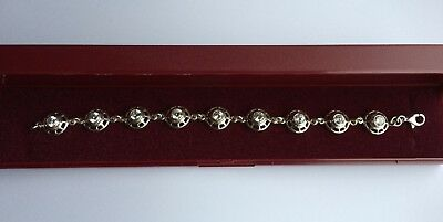 Sterling Silver 925 Bracelet with circular design links and clear stones