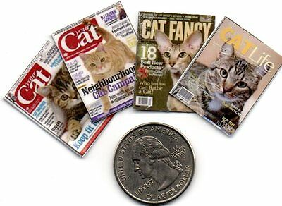 4 Miniature  'CAT'   MAGAZINES  -  Dollhouse  1:12 Scale OPENING PAGES
